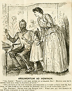 'Double standards! Woman campaigner for anti-vivsection, when her child is  bitten by  a dog wants to take him to Paris to be inoculated by Pasteur. Cartoon by George du Maurier, ''Punch'', London, 1889.'