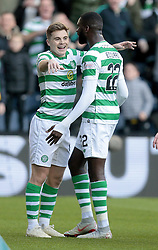 Celtic's James Forrest (left) celebrates scoring their second goal against Heart of Midlothian with Odsonne Edouard during the Betfred Cup semi final match at BT Murrayfield Stadium, Edinburgh.