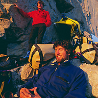 Mountaineers relax during a month-long, big-wall ascent of Great Sail Peak.