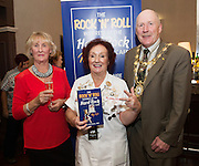 03/11/2016 Repro fee: Rita Gilligan's book The Rock 'n' Roll Waitress from The Hard Rock Cafe My Life in Hotel Meyrick, Galway was launched my Cllr. Noel Larkin Mayor of Galway. At the launch were  Gertie Elwood, Kingtston , author Rita Gilligan and Cllr. Noel Larkin Mayor of Galway.  Photo :Andrew Downes, XPOSURE