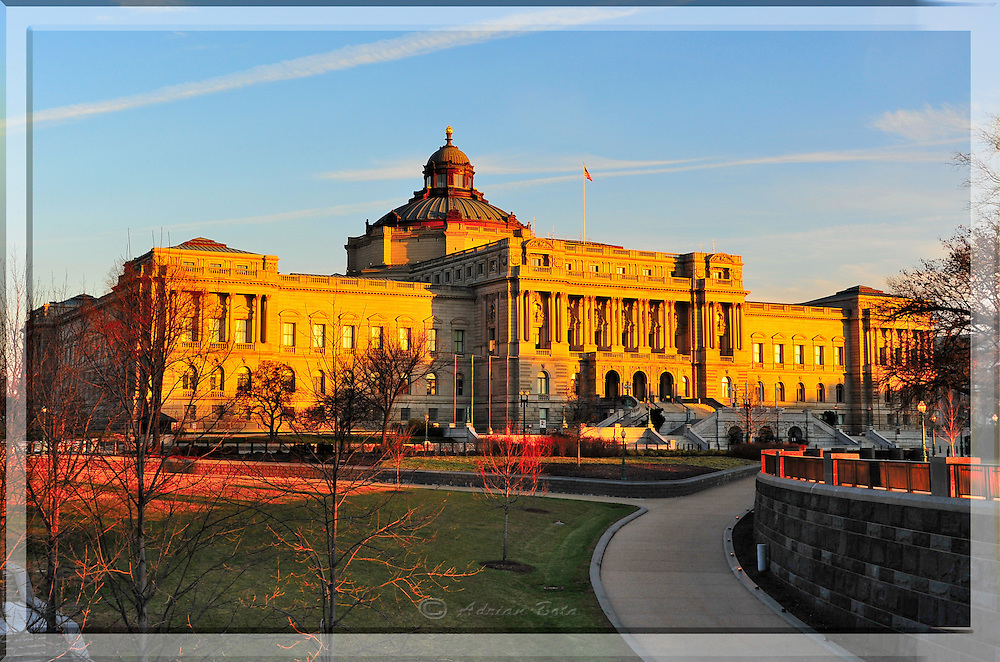 """The Library of Congress at Sunset, Washington DC <br /> <br /> Lead Frame of a 3D Lenticular Series, Printable up to 24x36"""""""