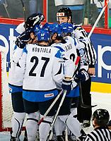 Ishockey<br /> VM 2013<br /> 04.05.2013<br /> Finland v Slovakia<br /> Foto: Gepa/Digitalsport<br /> NORWAY ONLY<br /> <br /> Bild zeigt den Jubel von Sami Lepisto, Petri Kontiola, Teemu Laakso und Janne Pesonen  (FIN).