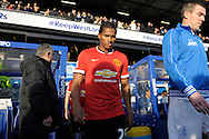 Antonio Valencia of Manchester United enters the pitch before k/o. Barclays Premier league match, Queens Park Rangers v Manchester Utd at Loftus Road in London on Saturday 17th Jan 2015. pic by John Patrick Fletcher, Andrew Orchard sports photography.