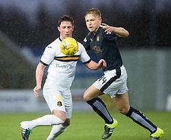 Dumbarton's Jordan Kirkpatrick and Falkirk's Peter Grant. <br /> Half time : Falkirk 1 v 0 Dumbarton, Scottish Championship game played 26/12/2015 at The Falkirk Stadium.