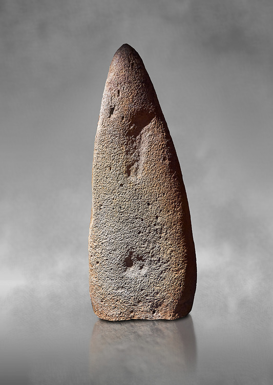 Late European Neolithic prehistoric Menhir standing stone which represents a standing figure. Excavated from Bau Carradore III site,  Laconi. Menhir Museum, Museo della Statuaria Prehistorica in Sardegna, Museum of Prehoistoric Sardinian Statues, Palazzo Aymerich, Laconi, Sardinia, Italy .<br /> <br /> Visit our PREHISTORIC PLACES PHOTO COLLECTIONS for more photos to download or buy as prints https://funkystock.photoshelter.com/gallery-collection/Prehistoric-Neolithic-Sites-Art-Artefacts-Pictures-Photos/C0000tfxw63zrUT4