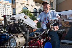 Dennis Leggett of Texas on his 1913 Indian on the Atlantic City boardwalk at the start of the Motorcycle Cannonball Race of the Century. Stage-1 from Atlantic City, NJ to York, PA. USA. Saturday September 10, 2016. Photography ©2016 Michael Lichter.