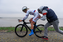 Tatiana Antoshina back on her way at Omloop van Borsele Time Trial 2016. A 19.9 km individual time trial starting and finishing in 's-Heerenhoek, Netherlands on 22nd April 2016.