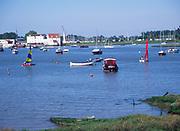 AREJKA Boats moored on River Deben, Woodbridge, Suffolk, England