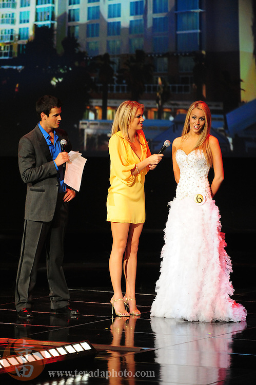 """November 22, 2009; Rancho Mirage, CA, USA; Miss Capital City Teen USA Alexandra Ritschard (right) answers her interview question during interview question final round of the Miss California Teen USA 2010 Pageant at """"The Show"""" at the Agua Caliente Resort & Spa. Mandatory Credit: Kyle Terada-Terada Photo"""