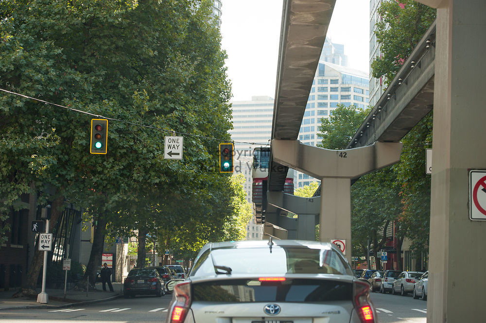 2017 SEPTEMBER 22 - Monorail on 5th Ave in Belltown area of Seattle, WA, USA. By Richard Walker