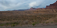 Interstate 70 and US highway US 50,  climb the San Rafael Swell of Green River, Utah panorama