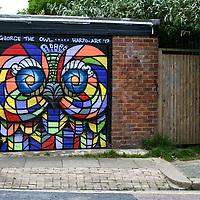 Garage Graffiti - George the Owl, Harpo Art '17.<br /> Hove, East Sussex, UK.<br /> 7th June 2017.<br /> <br /> © Pete Jones<br /> pete@pjproductions.co.uk