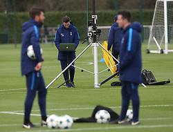 31 October 2017 Enfield: Tottenham Hotspur FC Training - staff monitor the training via a laptop.<br /> <br /> Photo: Mark Leech