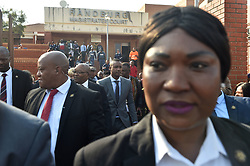 South Africa: Gauteng: Former president Jacob Zuma with his son Duduzane Zuma leaves the Randburg Magistrates court in Johannesburg, the son of the former president is facing a culpable homicide charge over a 2014 car acciden.<br />979<br />23.08.2018<br />Picture: Itumeleng English/African News Agency (ANA)