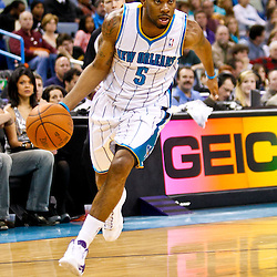 December 17, 2010; New Orleans, LA, USA; New Orleans Hornets guard Marcus Thornton (5) against the Utah Jazz during the second half at the New Orleans Arena.  The Hornets defeated the Jazz 100-71. Mandatory Credit: Derick E. Hingle
