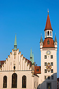 Clock tower of Altes Rathaus and Spielzeugmuseum  in Marienplatz in Munich, Bavaria, Germany