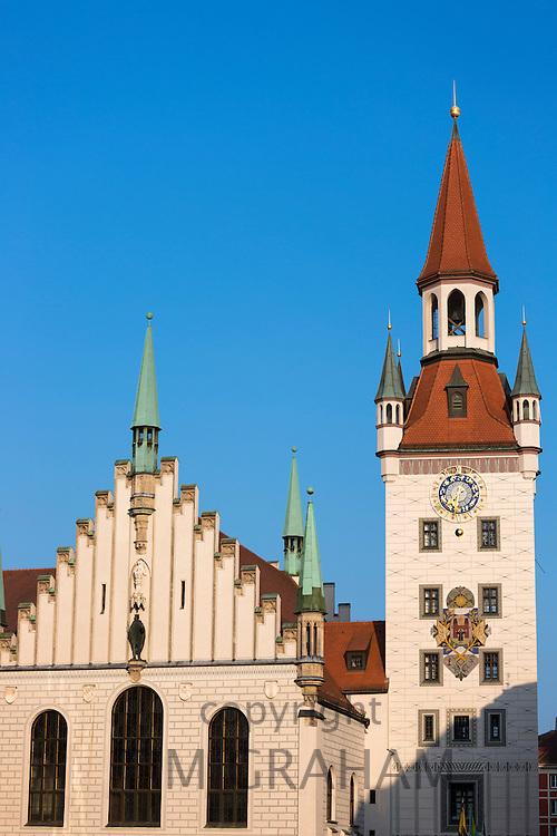Clock tower of Altes Rathaus and Spielzeugmuseum  in Marienplatz in Munich, Bavaria, Germany