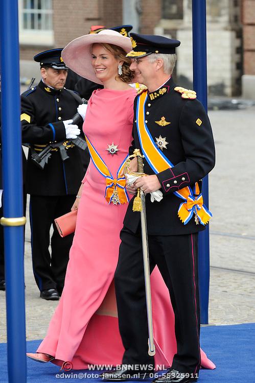 NLD/Amsterdam/20130430 - Inhuldiging Koning Willem - Alexander, prinses Mathilde and partner prince Filip of Belgium