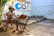 Robot sculpture in playground in Cardenas, Matanzas, Cuba.