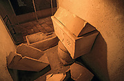 A stone sarcophagus in a cellar under the monastery of Les Soeurs de Notre-Dame de Sion (Convent of the Sisters of Zion), Jerusalem, Israel