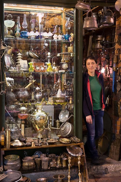 Shopkeeper at antique shop inside The Grand Bazaar, Kapalicarsi, great market in Beyazi, Istanbul, Republic of Turkey