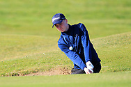 Darren Leufer (Athenry) in a bunker on the 1st during Round 2 of the Ulster Boys Championship at Donegal Golf Club, Murvagh, Donegal, Co Donegal on Thursday 25th April 2019.<br /> Picture:  Thos Caffrey / www.golffile.ie