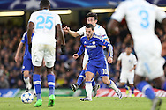 Eden Hazard of Chelsea © looks for a way through. UEFA Champions league group G match, Chelsea v Porto at Stamford Bridge in London on Wednesday 9th December 2015.<br /> pic by John Patrick Fletcher, Andrew Orchard sports photography.