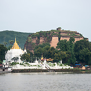 Mingun Pahtodawgyi, also known as the Unfinished Pagoda of Mingun, was commissioned by King Bodawpaya in 1790. The current structure stands 50 meters tall; the plans called for it to reach a total height of 150 meters when completed. The structure is solid and built entirely of bricks. An earthquaker in March 1839 tore large cracks in the structure.