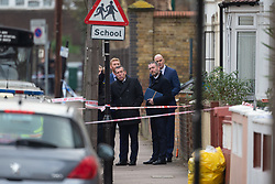 Detectives at the scene on Bickley Road in Leyton where 14-year-old  Jayden Moodie was knocked off his moped and then stabbed to death. Leyton, London, January 09 2019.