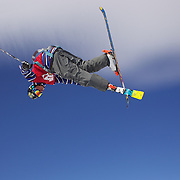 David Wise, USA, in action during his second place finish in the Men's Halfpipe Finals during The North Face Freeski Open at Snow Park, Wanaka, New Zealand, 3rd September 2011. Photo Tim Clayton.