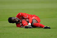 Firmin MUBELE(STADE RENNAIS FOOTBALL CLUB) on the floor during the French championship L1 football match between Rennes v Lyon, on August 11, 2017 at Roazhon Park stadium in Rennes, France - Photo Stephane Allaman / ProSportsImages / DPPI