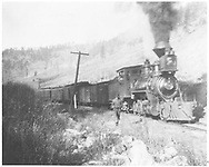 """RGS 2-8-0 #3 near Telluride with John G. Phillips in the cab.<br /> RGS  near Telluride, CO  Taken by Wolfinger, Clemente D.<br /> In book """"Rio Grande Southern II, The: An Ultimate Pictorial Study"""" page 39<br /> Identical to RD155-008 except lighter image."""
