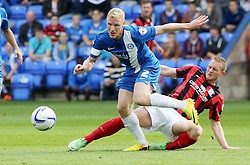 Peterborough United's Craig Alcock gets away from Preston North End's Stuart Beavon - Photo mandatory by-line: Joe Dent/JMP - Tel: Mobile: 07966 386802 05/10/2013 - SPORT - FOOTBALL - London Road Stadium - Peterborough - Peterborough United V Preston North End - Sky Bet League 1