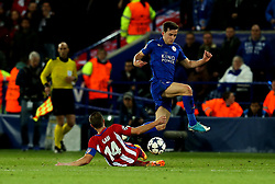 Ben Chilwell of Leicester City is tackled by Gabi of Atletico Madrid - Mandatory by-line: Robbie Stephenson/JMP - 18/04/2017 - FOOTBALL - King Power Stadium - Leicester, England - Leicester City v Atletico Madrid - UEFA Champions League Quarter-Final Second Leg