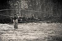 male fly angler fishing for steelhead, Salmon River, New York