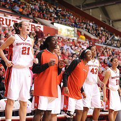 Jan 31, 2009; Piscataway, NJ, USA; The Rutgers bench reacts to a foul call against South Florida during a late game run that brought them back within two scores to tie late in the second half of South Florida's 59-56 victory over Rutgers in NCAA women's college basketball at the Louis Brown Athletic Center