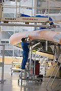 Final assembly of a wing, before it is attached to the fuselage.