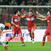 Turkey's Arda TURAN (C) celebrate his goal during their UEFA EURO 2012 Qualifying round Group A soccer match Turkey betwen Austria at Sukru Saracoglu stadium in Istanbul March 29, 2011. Photo by TURKPIX