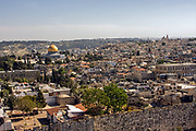 General view of Jerusalem, Old City and Temple Mount As seen from mount Scopus