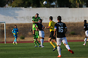 Forest Green Rovers Lee Collins(5) heads clear during the Pre-Season Friendly match between SC Farense and Forest Green Rovers at Estadio Municipal de Albufeira, Albufeira, Portugal on 25 July 2017. Photo by Shane Healey.