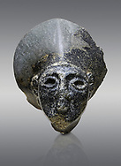 Hittite statue head of the Sun Goddess . Basalt, Hittie Period 1650 - 1450 BC. Hattusa Boğazkale. Çorum Archaeological Museum, Corum, Turkey .<br />  <br /> If you prefer to buy from our ALAMY STOCK LIBRARY page at https://www.alamy.com/portfolio/paul-williams-funkystock/hittite-art-antiquities.html  - Type Hattusa into the LOWER SEARCH WITHIN GALLERY box. Refine search by adding background colour, place,etc<br /> <br /> Visit our HITTITE PHOTO COLLECTIONS for more photos to download or buy as wall art prints https://funkystock.photoshelter.com/gallery-collection/The-Hittites-Art-Artefacts-Antiquities-Historic-Sites-Pictures-Images-of/C0000NUBSMhSc3Oo