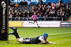 Justin Tipuric of Ospreys goes over but the try was disallowed <br /> <br /> Photographer Simon King/Replay Images<br /> <br /> Guinness PRO14 Round 18 - Ospreys v Dragons - Saturday 23rd March 2019 - Liberty Stadium - Swansea<br /> <br /> World Copyright © Replay Images . All rights reserved. info@replayimages.co.uk - http://replayimages.co.uk
