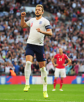 Football - 2018 / 2019 UEFA European Championships Qualifier - Group A: England vs. Bulgaria<br /> <br /> Harry Kane of England celebrates scoring goal no 5 and his hat trick from the penalty spot, at Wembley Stadium.<br /> <br /> COLORSPORT/ANDREW COWIE