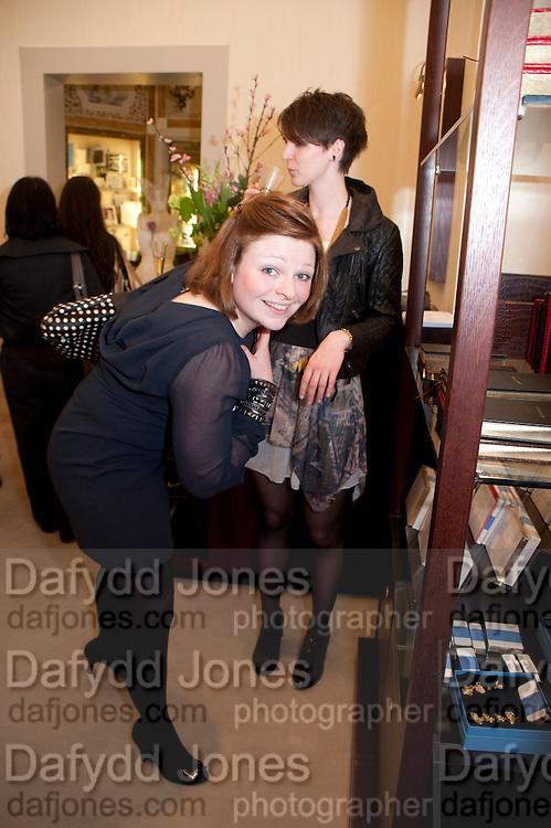 ALEX WILSON; CHARLEY HARLEY; , Smythson Royal Wedding exhibition preview. Smythson together with Janice Blackburn has commisioned 5 artist designers to create their own interpretations of  Royal wedding memorabilia. Smythson. New Bond St. London. 5 April 2011.  -DO NOT ARCHIVE-© Copyright Photograph by Dafydd Jones. 248 Clapham Rd. London SW9 0PZ. Tel 0207 820 0771. www.dafjones.com.