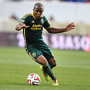 Darlington Nagbe, Portland Timbers, in action during the New York Red Bulls Vs Portland Timbers, Major League Soccer regular season match at Red Bull Arena, Harrison, New Jersey. USA. 24th May 2014. Photo Tim Clayton