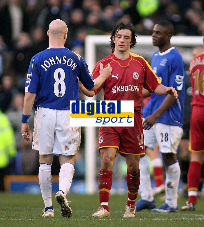 Photo: Paul Thomas.<br /> Everton v Reading. The Barclays Premiership. 14/01/2007.<br /> <br /> Goal scorers Andy Johnson (L) of Everton and Reading's Stephen Hunt congratulate each other after the game.