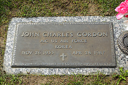 31 August 2017:   Veterans graves in Park Hill Cemetery in eastern McLean County.<br /> <br /> John Charles Gordon A1C US Air Force Korea Nov 26 1933 Apr 28 1987