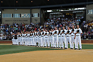 WINSTON-SALEM, NC - JUNE 02: Wake Forest's players and coaches during the playing of the national anthem. The Wake Forest Demon Deacons hosted the University of Maryland Baltimore County Retrievers on June 2, 2017, at David F. Couch Ballpark in Winston-Salem, NC in NCAA Division I College Baseball Tournament Winston-Salem Regional Game 2. Wake Forest won the game 11-3.