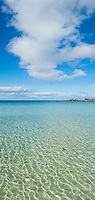 Clear cold water of scenic beach, Gimsøya, Lofoten islands, Norway