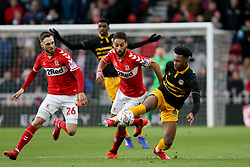 Newport County's Antoine Semenyo (right) and Middlesbrough's Ryan Shotton battle for the ball during the FA Cup fourth round match at Riverside Stadium, Middlesbrough.